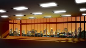 Vista delle costruzioni dall'alta finestra di aumento Immagine Stock