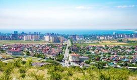 Vista delle costruzioni e dei cottage in costruzione Anapa, villaggio Supseh, regione di Krasnodar, Russia immagini stock libere da diritti