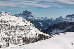 Vista delle dolomia italiane nell'inverno Immagine Stock