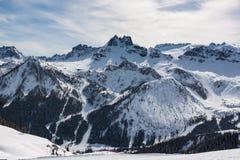 Vista delle dolomia italiane nell'inverno Immagini Stock
