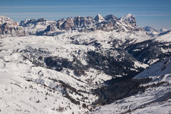 Vista delle dolomia italiane nell'inverno Fotografie Stock Libere da Diritti