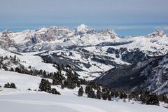 Vista delle dolomia italiane nell'inverno Fotografia Stock