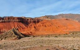 Vista delle formazioni rocciose nel Quebrada de las Conchas, Argentin Fotografia Stock