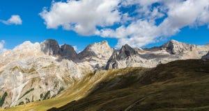 Vista delle montagne delle dolomia Fotografie Stock