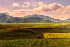 Vista delle montagne di Sibillini Immagini Stock