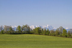 Vista delle montagne di Wetterstein Fotografia Stock Libera da Diritti