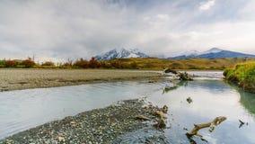 Vista delle montagne e del fiume nel parco nazionale di Torres del Paine Autunno nella Patagonia, il lato cileno archivi video