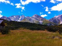 Vista delle montagne, isola del sud, Nuova Zelanda, NZ Fotografie Stock