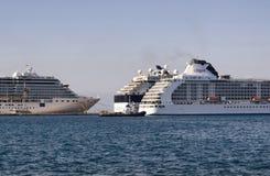 Vista delle navi da crociera attraccate Immagine Stock Libera da Diritti
