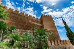 Vista delle pareti del Alcazaba di Almeria & di x28; Almeria Castle & x29; Fotografia Stock Libera da Diritti
