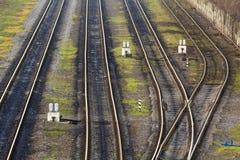 Vista delle piste della strada di ferrovia da sopra Immagini Stock