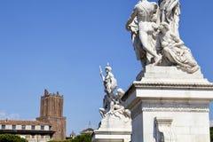 Vista delle statue all'altare della patria Fotografie Stock Libere da Diritti