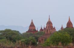 Vista delle tempie nella pianura di Bagan fotografia stock libera da diritti