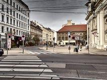 Vista delle vie di Vienna e del churc di St Joseph immagine stock libera da diritti