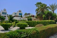 Vista delle ville per i villeggianti contro lo sfondo delle piante tropicali e delle palme immagini stock