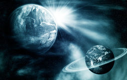 Vista dello spazio con due pianeti Fotografia Stock Libera da Diritti