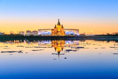 Vista dello stadio di Nizhny Novogorod, costruente per la coppa del Mondo 2018 della FIFA in Russia Fotografia Stock Libera da Diritti