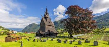 Vista dello stavkirke di Hopperstad, Norvegia fotografia stock libera da diritti