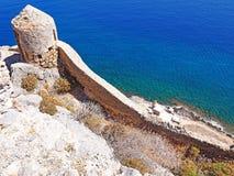 Vista desde arriba del faro en Monemvasia, Grecia foto de archivo libre de regalías