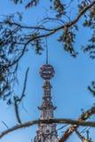 Vista detalhada da torre do palácio de Buçaco no meio das árvores fotos de stock royalty free