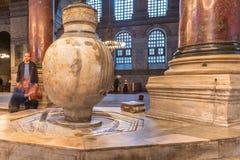 Vista detalhada interior de Hagia Sophia, da basílica da igreja museu patriarcal cristão ortodoxo grego agora em Istambul, Turqui fotos de stock royalty free