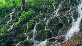 Vista detallada de las cascadas hermosas en el parque nacional de Plitvice, Croacia almacen de metraje de vídeo