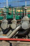 Vista detallada de las industrias de las válvulas del metal fotografía de archivo
