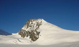 Vista dettagliata del picco di montagna di Rimpfischhorn nelle alpi svizzere vicino a Zermatt Fotografia Stock