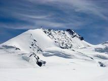 Vista dettagliata del picco di montagna di Rimpfischhorn nelle alpi svizzere vicino a Zermatt Fotografie Stock