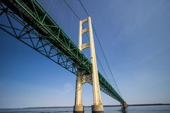 Vista dettagliata del ponte del Michigan Mackinaw Immagini Stock Libere da Diritti