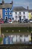 Vista di Aberaeron Galles ad ovest Regno Unito fotografia stock libera da diritti