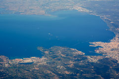 Vista di Aereial del mare adritic Triste e del nord fotografia stock libera da diritti