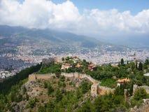Vista di Alanya con la fortezza Fotografia Stock Libera da Diritti