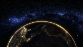 Vista di alba da spazio su pianeta Terra illustrazione di stock