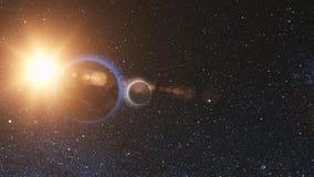 Vista di alba da spazio su pianeta Terra e sulla luna illustrazione di stock