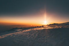 Vista di alba delle montagne dalla montagna di Elbrus Immagine Stock Libera da Diritti