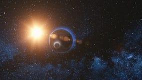 Vista di alba su pianeta Terra e sulla luna giranti royalty illustrazione gratis