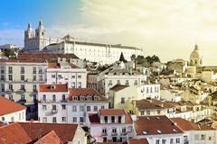 Vista di Alfama a Lisbona Fotografia Stock