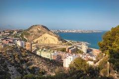Vista di Alicante dalla fortezza di Santa Barbara Immagini Stock Libere da Diritti