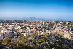 Vista di Alicante dalla fortezza di Santa Barbara Fotografia Stock