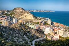 Vista di Alicante dalla fortezza di Santa Barbara Fotografia Stock Libera da Diritti