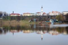 Vista di alta banca del Dnepr in Mogilev Fotografia Stock Libera da Diritti