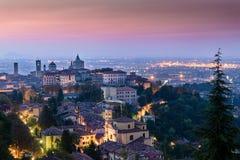 Vista di alta città di Bergamo Immagine Stock Libera da Diritti