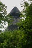 Vista di alta torre di pietra antica in boschetti delle latifoglie Fotografia Stock Libera da Diritti
