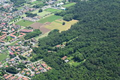 Vista di altitudine di Milano Malpensa 1500 metri Fotografia Stock