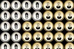 Vista di alto angolo della latta di birra Fotografie Stock