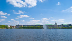 Vista di Amburgo Alster Fotografia Stock