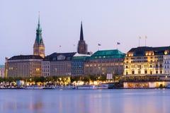 Vista di Amburgo Jungfernstieg Fotografia Stock Libera da Diritti