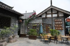 Vista di ampio e vicolo stretto di Chengdu Immagini Stock