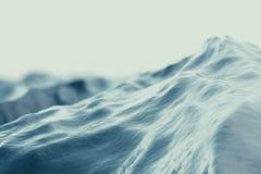 Vista di angolo di minimo dell'onda del mare, oceano e fondo del cielo blu con gli effetti di fuoco rappresentazione 3d Fotografie Stock